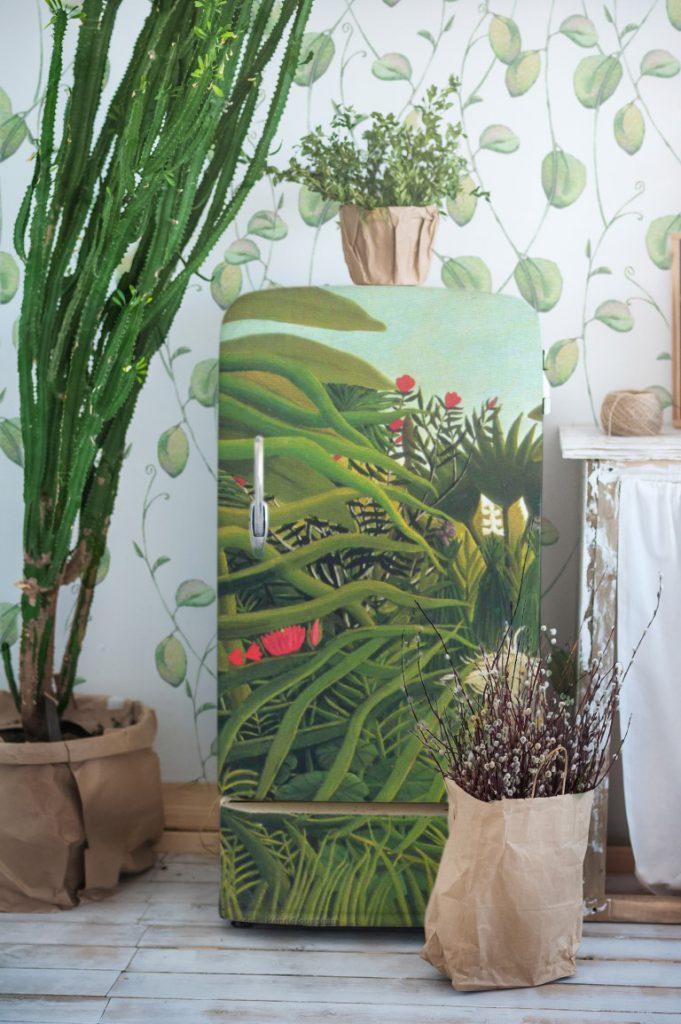 styl botaniczny regał i tapeta